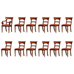 Dining Chairs Set of 12 Walnut, 1 Carver and 11 Side Chairs