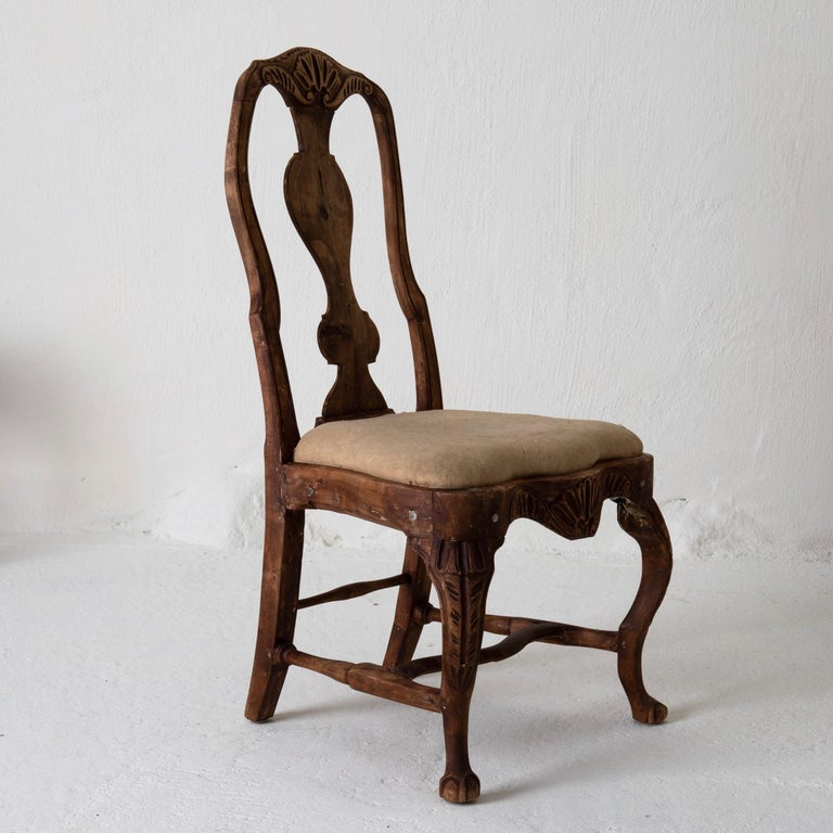 Dining Chairs Set of 6 Swedish Rococo Period 18th Century Brown Sweden In Good Condition For Sale In New York, NY