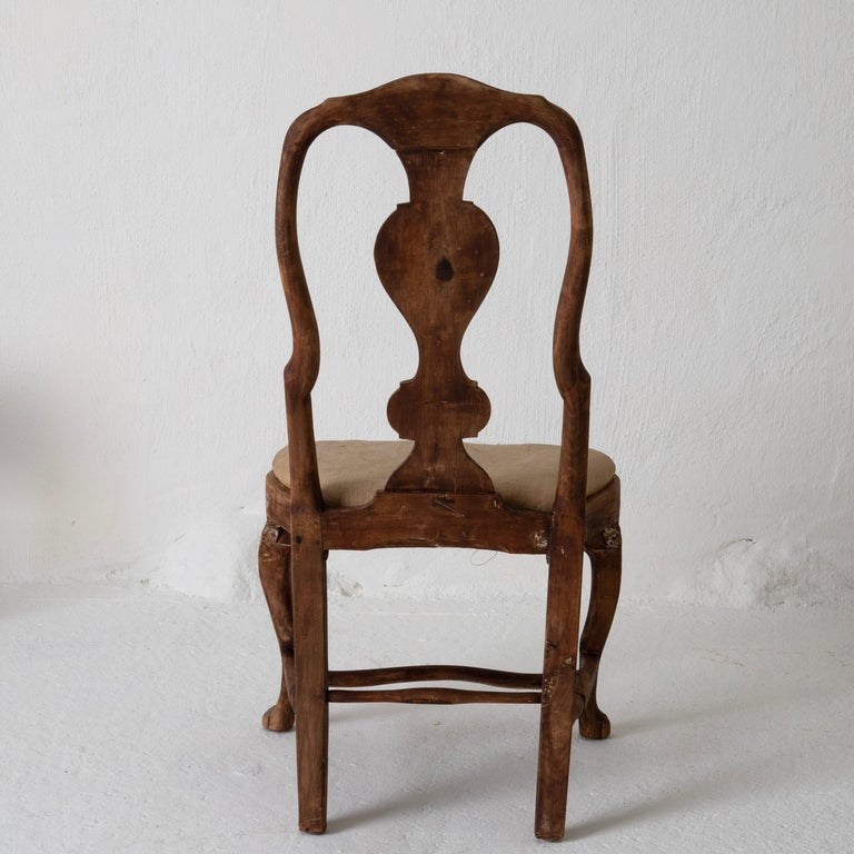Wood Dining Chairs Set of 6 Swedish Rococo Period 18th Century Brown Sweden For Sale