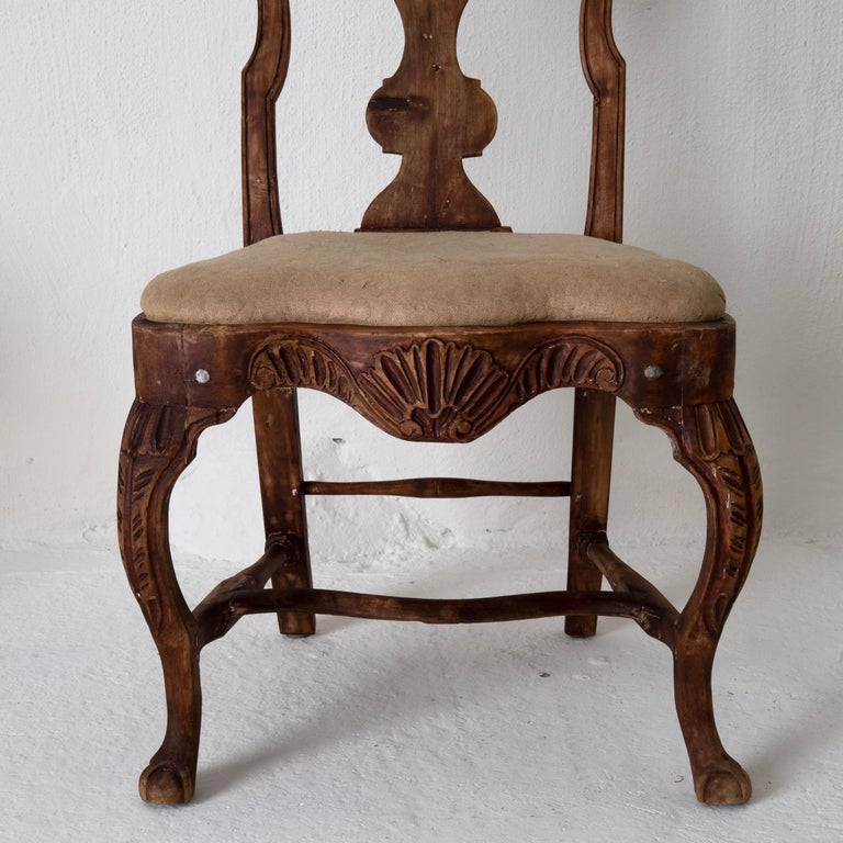 Dining Chairs Set of 6 Swedish Rococo Period 18th Century Brown Sweden For Sale 1