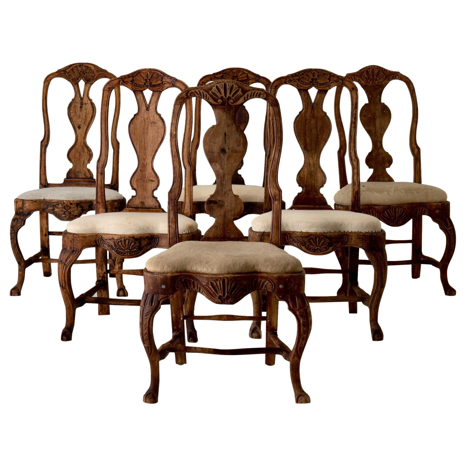 Dining Chairs Set of 6 Swedish Rococo Period 18th Century Brown Sweden