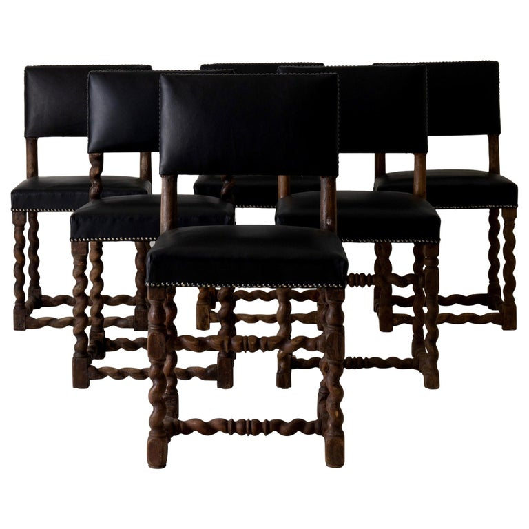 Excellent Dining Chairs Set Of Six Oak Black Leather Baroque Sweden At Customarchery Wood Chair Design Ideas Customarcherynet