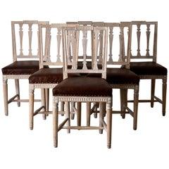 Dining Chairs Swedish Gustavian 1790-1810 Original Paint Beige Brown Swedish