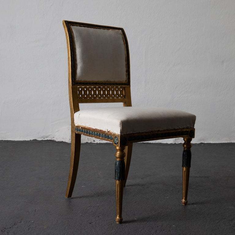 Dining Chairs Swedish Set of 6 Neoclassical Gilded Green, Sweden For Sale 6