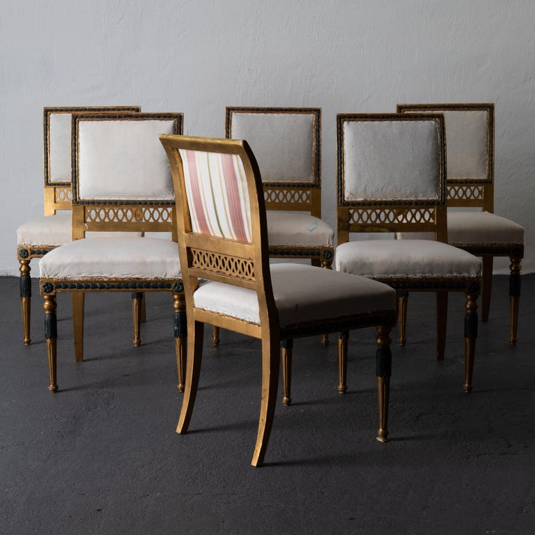 Dining Chairs Swedish Set of 6 Neoclassical Gilded Green, Sweden In Good Condition For Sale In New York, NY