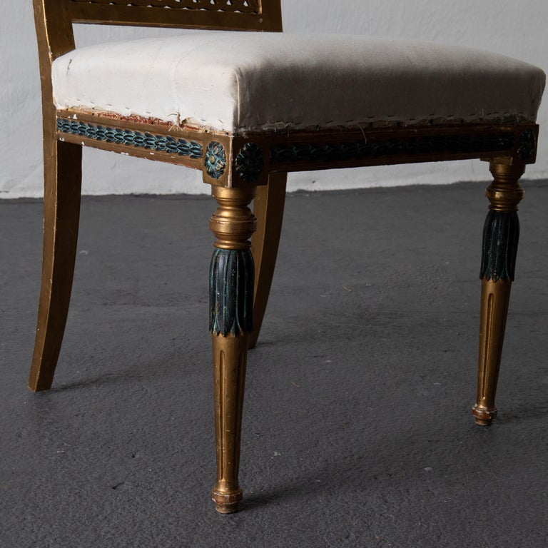 Dining Chairs Swedish Set of 6 Neoclassical Gilded Green, Sweden For Sale 3