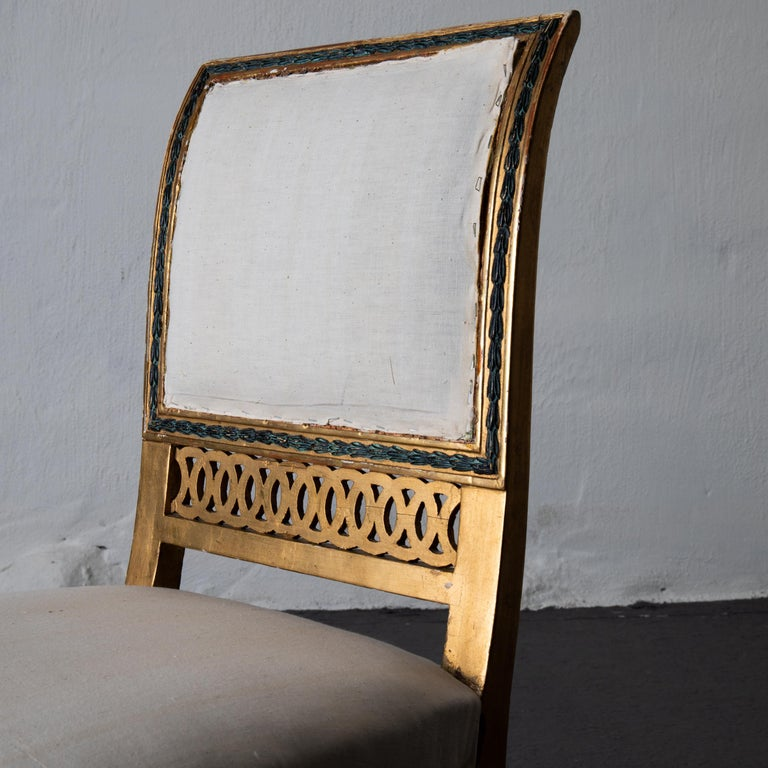 Dining Chairs Swedish Set of 6 Neoclassical Gilded Green, Sweden For Sale 4