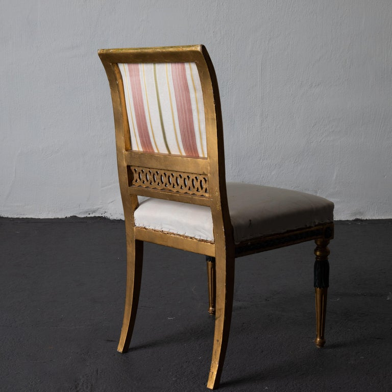 Dining Chairs Swedish Set of 6 Neoclassical Gilded Green, Sweden For Sale 5