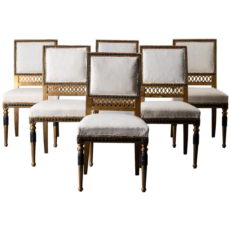 Dining Chairs Swedish Set of 6 Neoclassical Gilded Green, Sweden For Sale