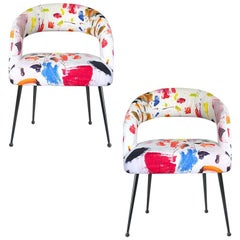 Dining Chairs with Arms in Pierre Frey Linen Arty Fabric, a Pair France