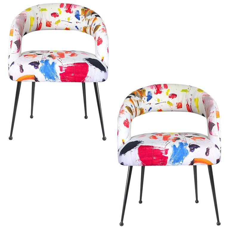 Dining Chairs with Arms in Pierre Frey Linen Arty Fabric, a Pair France For Sale