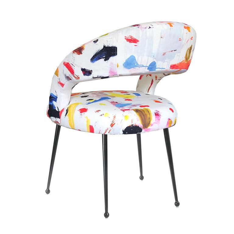 Modern Dining Chairs with Arms in Pierre Frey Linen Arty Fabric, a Pair France For Sale