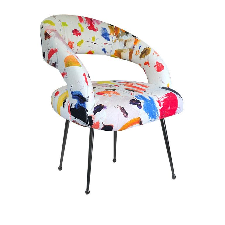 French Dining Chairs with Arms in Pierre Frey Linen Arty Fabric, a Pair France For Sale