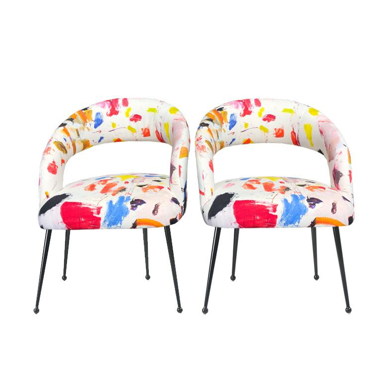 Contemporary Dining Chairs with Arms in Pierre Frey Linen Arty Fabric, a Pair France For Sale