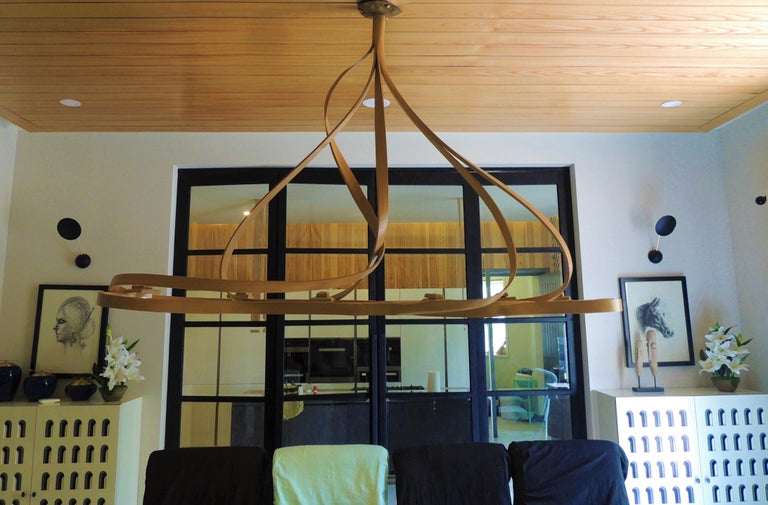 Modern Dining Chandelier by Raka Studio, Bent Wood For Sale