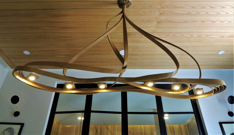Dining Chandelier by Raka Studio, Bent Wood In New Condition For Sale In Cape Girardeau, MO