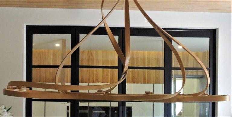 Dining Chandelier by Raka Studio, Bent Wood For Sale 1