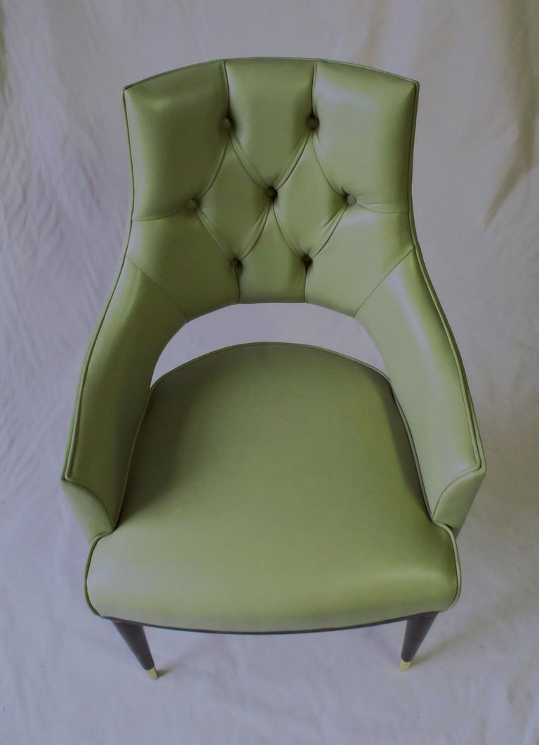 Dining Highback Armchair Reynolda Green Fiore Leather Midcentury, Luxury Details For Sale 2