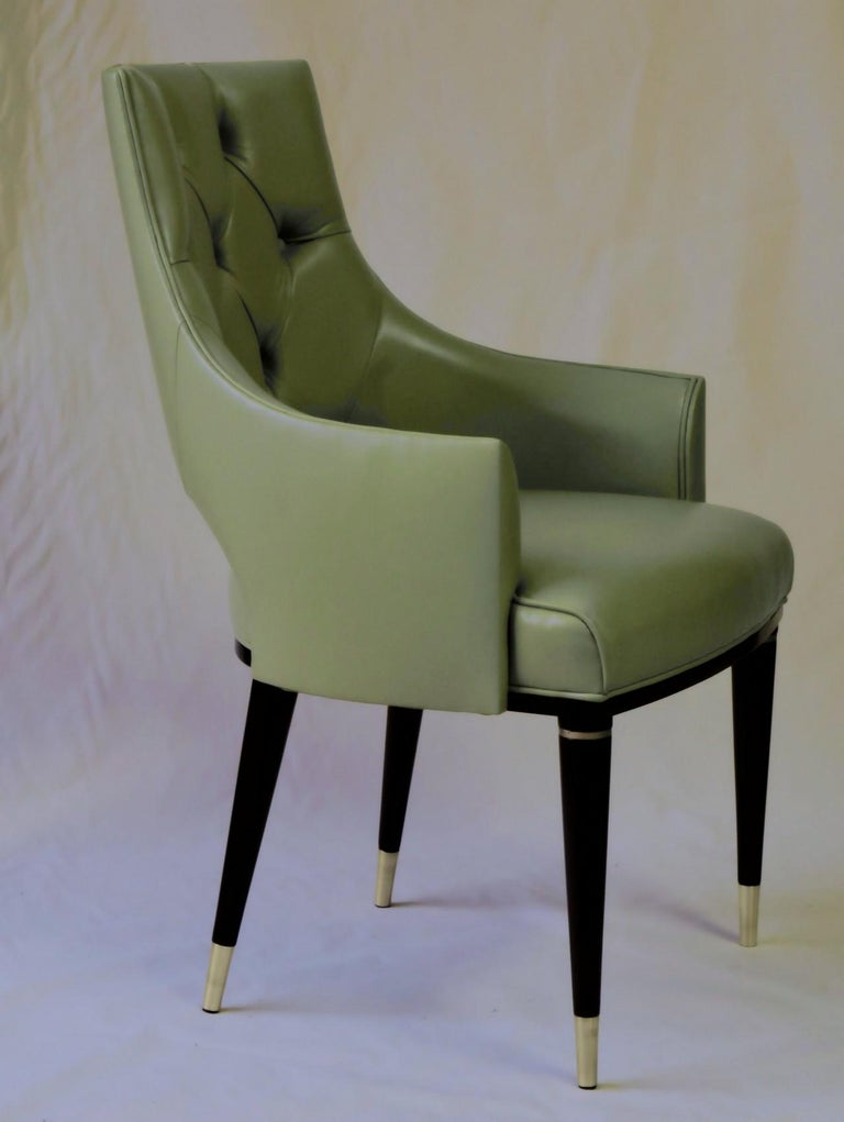 Dining Highback Armchair Reynolda Green Fiore Leather Midcentury, Luxury Details For Sale 3