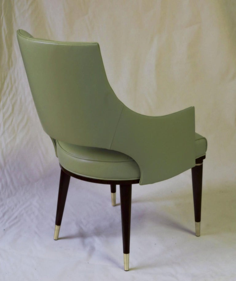 Dining Highback Armchair Reynolda Green Fiore Leather Midcentury, Luxury Details For Sale 4