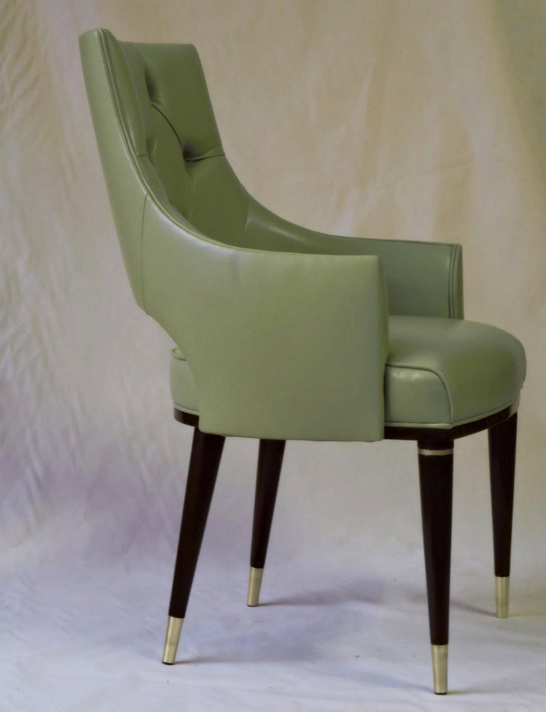 Dining Highback Armchair Reynolda Green Fiore Leather Midcentury, Luxury Details For Sale 5