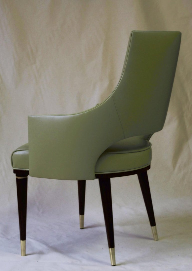 Dining Highback Armchair Reynolda Green Fiore Leather Midcentury, Luxury Details For Sale 6