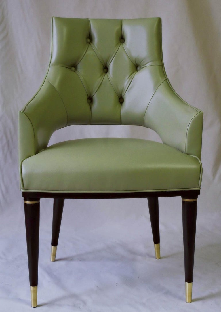 Dining Highback Armchair Reynolda Green Fiore Leather Midcentury, Luxury Details For Sale 7