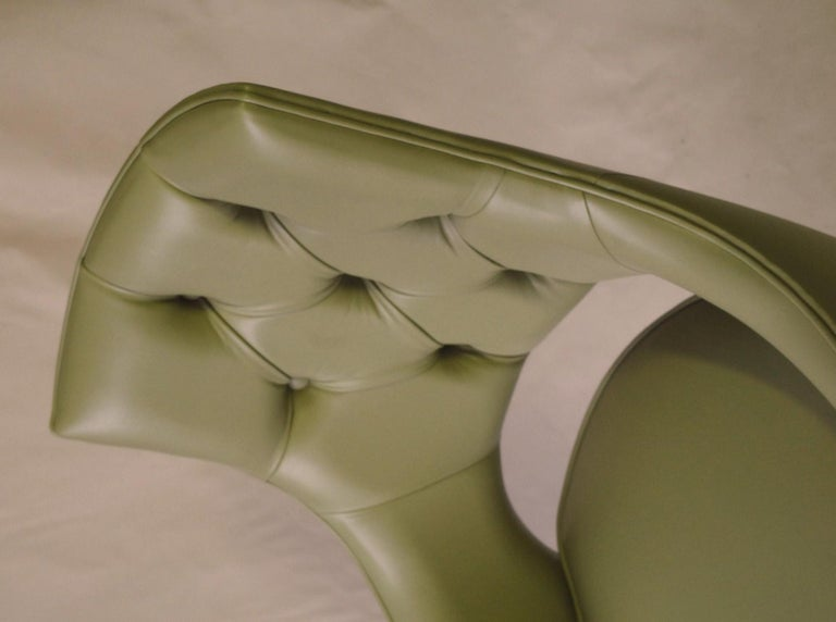 Dining Highback Armchair Reynolda Green Fiore Leather Midcentury, Luxury Details For Sale 9