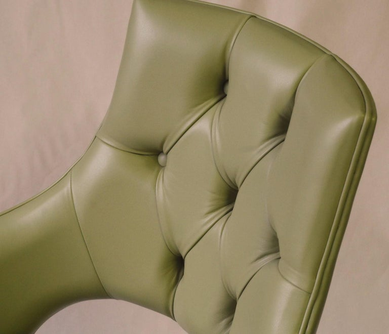 Dining Highback Armchair Reynolda Green Fiore Leather Midcentury, Luxury Details For Sale 10