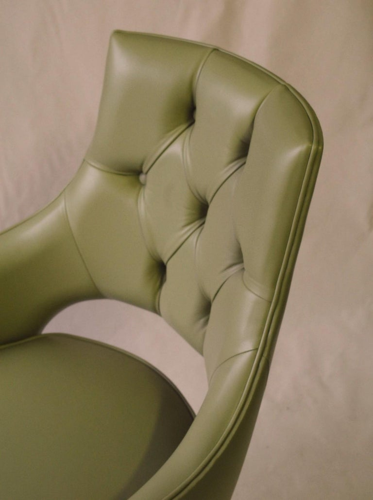 Dining Highback Armchair Reynolda Green Fiore Leather Midcentury, Luxury Details For Sale 11