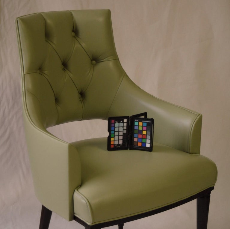 Dining Highback Armchair Reynolda Green Fiore Leather Midcentury, Luxury Details For Sale 12