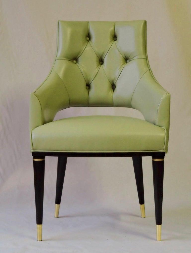 Mid-Century Modern Dining Highback Armchair Reynolda Green Fiore Leather Midcentury, Luxury Details For Sale