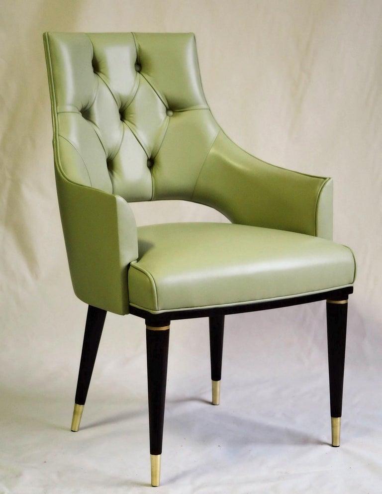Italian Dining Highback Armchair Reynolda Green Fiore Leather Midcentury, Luxury Details For Sale
