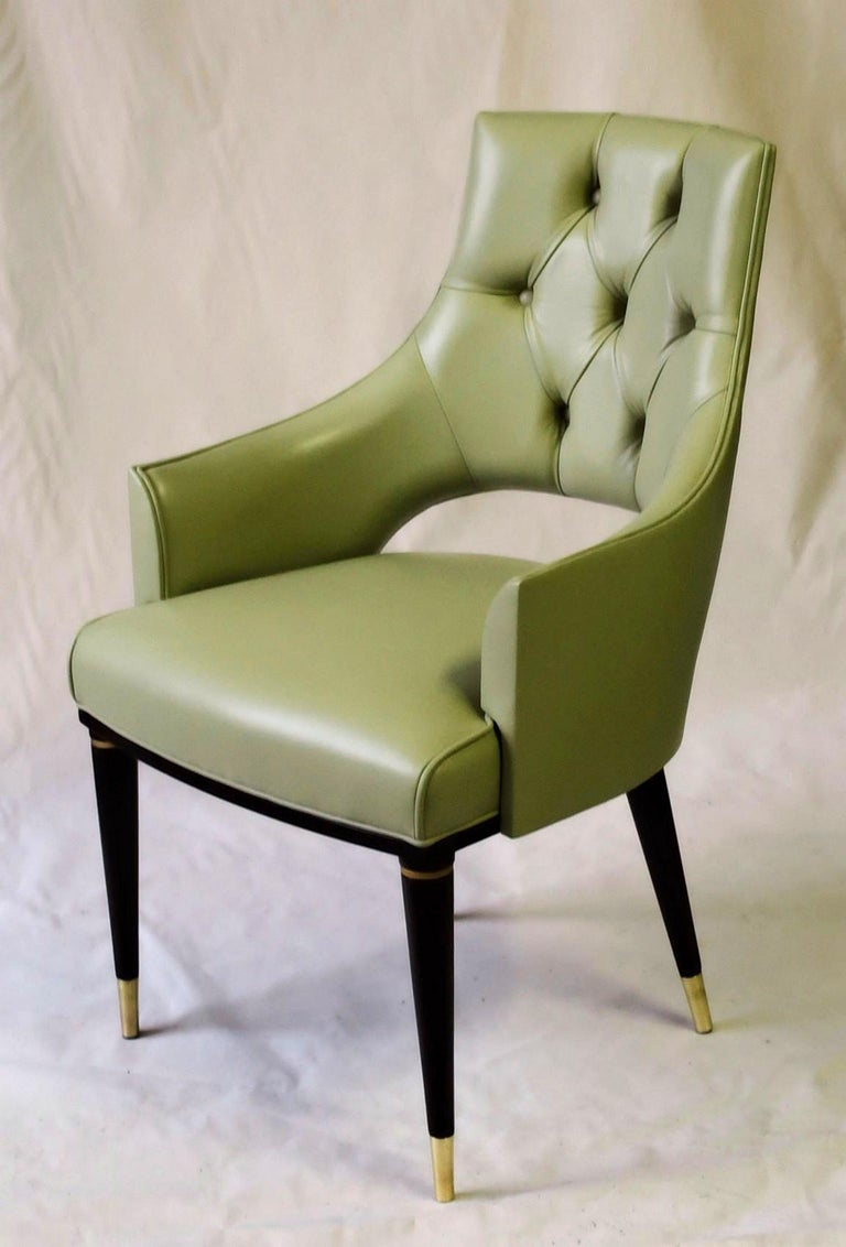 Polished Dining Highback Armchair Reynolda Green Fiore Leather Midcentury, Luxury Details For Sale