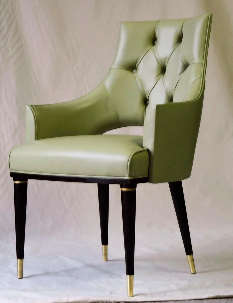Dining Highback Armchair Reynolda Green Fiore Leather Midcentury, Luxury Details In New Condition For Sale In Tavarnelle val di Pesa, Florence