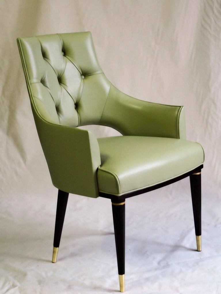 Contemporary Dining Highback Armchair Reynolda Green Fiore Leather Midcentury, Luxury Details For Sale