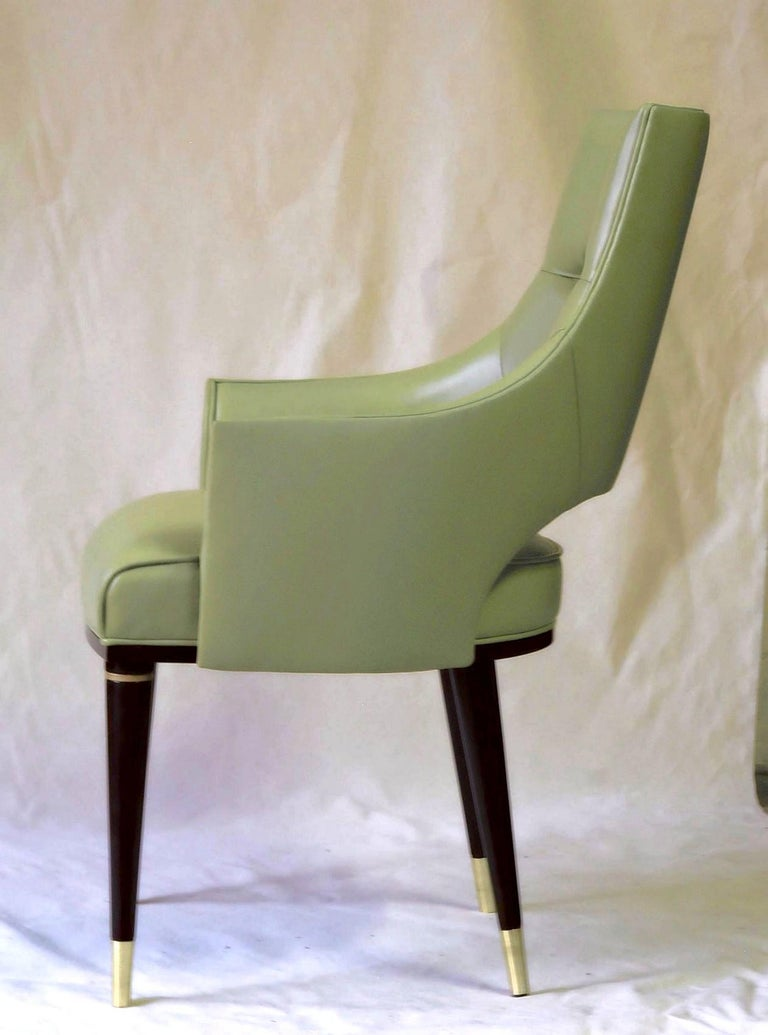 Lacquer Dining Highback Armchair Reynolda Green Fiore Leather Midcentury, Luxury Details For Sale