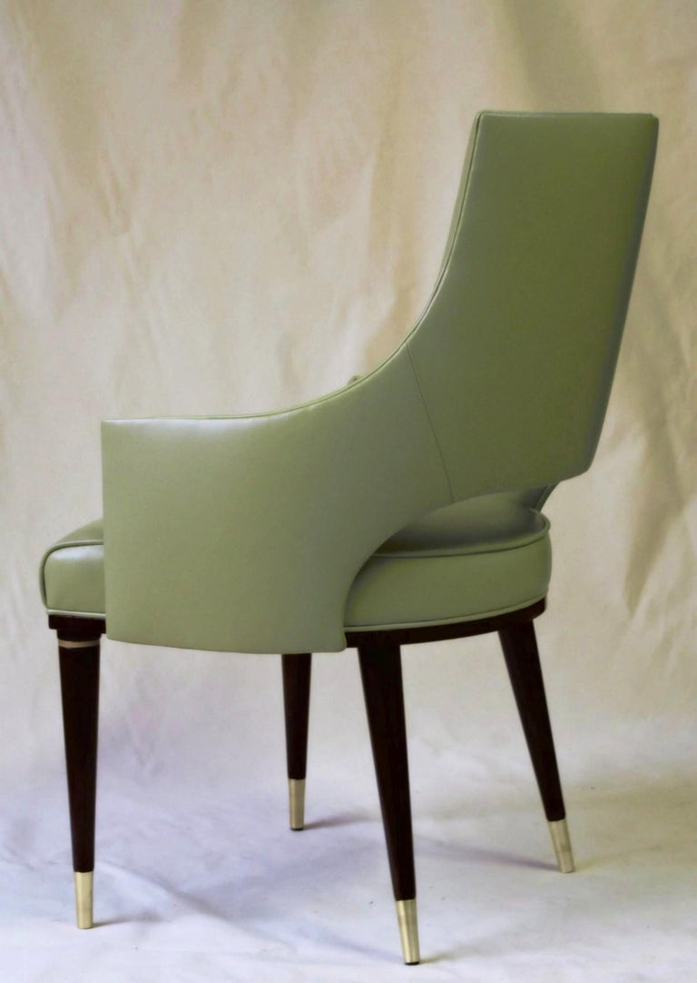 Dining Highback Armchair Reynolda Green Fiore Leather Midcentury, Luxury Details For Sale 1