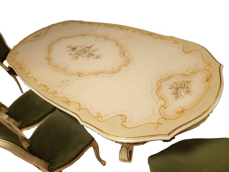 Dining / Living Room Set of 10 Pieces in the Style of Venetian Rococo For Sale 5