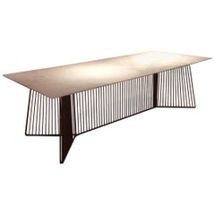 Dining or Conference Table Marble Carrara Top Black Steel Structure by Driade