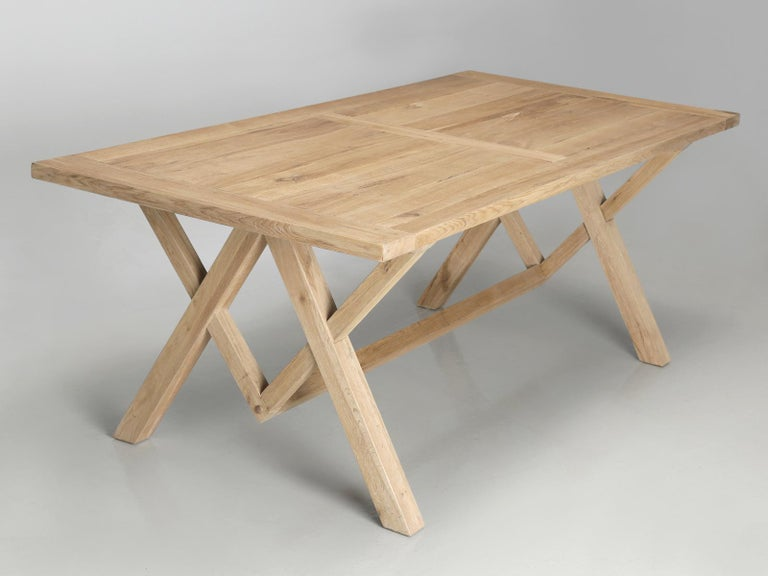 Country Dining or Kitchen Table Made from California White Oak For Sale