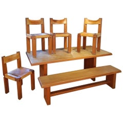 Dining Room by Pierre Chapo 3 S11 Chairs, 1 S14 Bench, 1 T14 Table