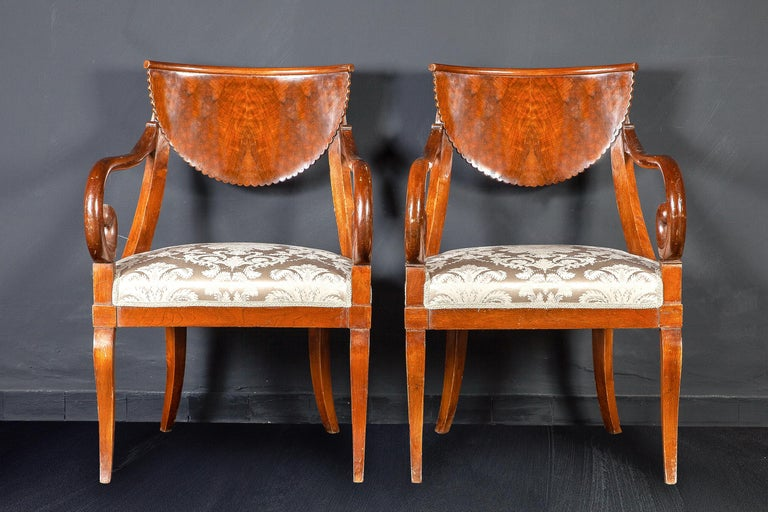 Directoire Dining Room Set of Eight Italian Chairs and a Pair of Armchairs, 1790 For Sale