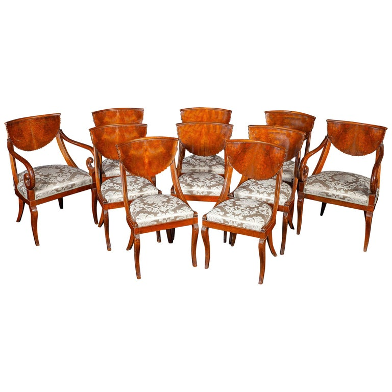Dining Room Set of Eight Italian Chairs and a Pair of Armchairs, 1790 For Sale