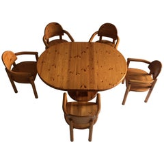 Dining Room Set Pine Table Five Armchairs by Rainer Daumiller, Denmark, 1970
