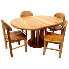 Dining Room Set Pine Table Four Chairs by Rainer Daumiller, Denmark, 1970