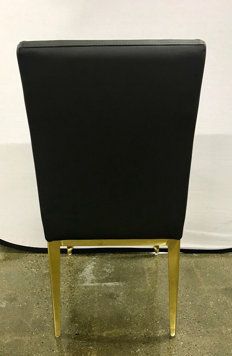 Round Glass And Brass Dining Table And 6 Black Leather