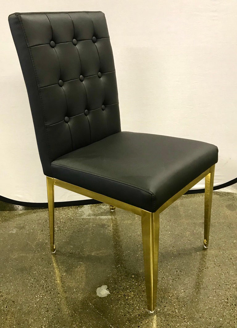 glass dining room tables for sale | Round Glass and Brass Dining Table and 6 Black Leather ...