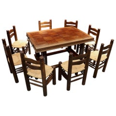 Dining Room Set Table and 8 Chairs Charles Dudouyt Oak, 1940