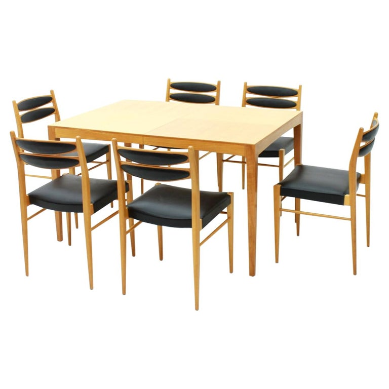 Dining Room Set with Six Chairs in Cherrywood and Black Leather, 1957